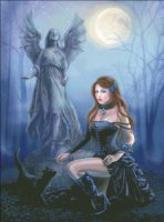 Fantasy Woman And Black Cat