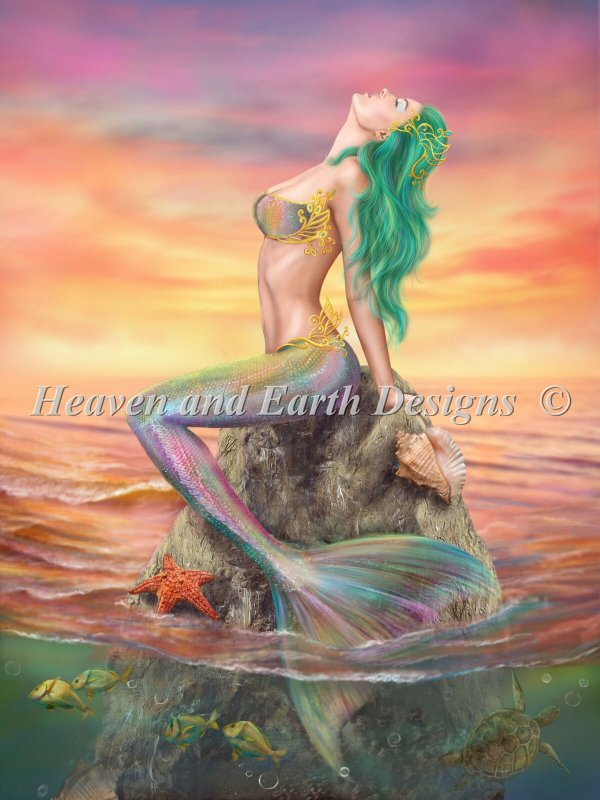 Mermaid At Sunset - Click Image to Close