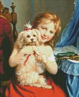 A Young Girl With Bichon Frise