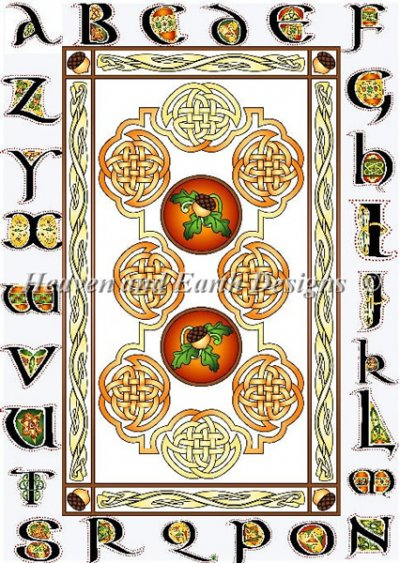 Acorns Panels Red Sampler