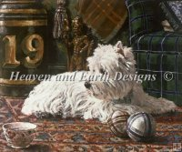 Westie with Tartan Chair