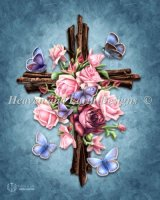 Diamond Painting Canvas - Mini Butterfly Rose Cross