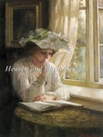 Diamond Painting Canvas - Mini Lady Reading By A Window
