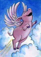 Diamond Painting Canvas - QS Flying Pink Piggie