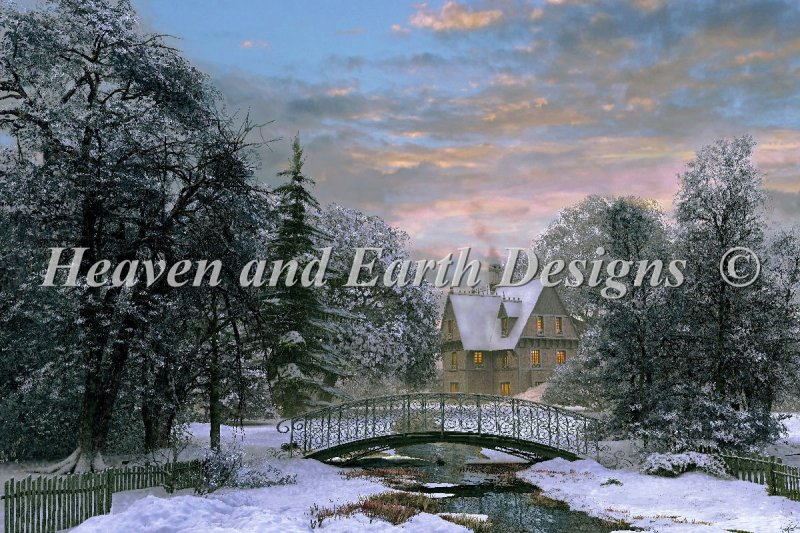 Snow Scene Sunset - Click Image to Close