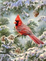 Cardinal In Snowy Pine