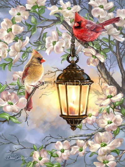 Spring Lantern With Cardinals