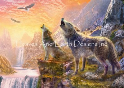 Sunset Howling Wolves
