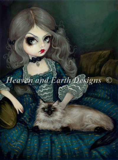 Princess with a Himalayan Cat