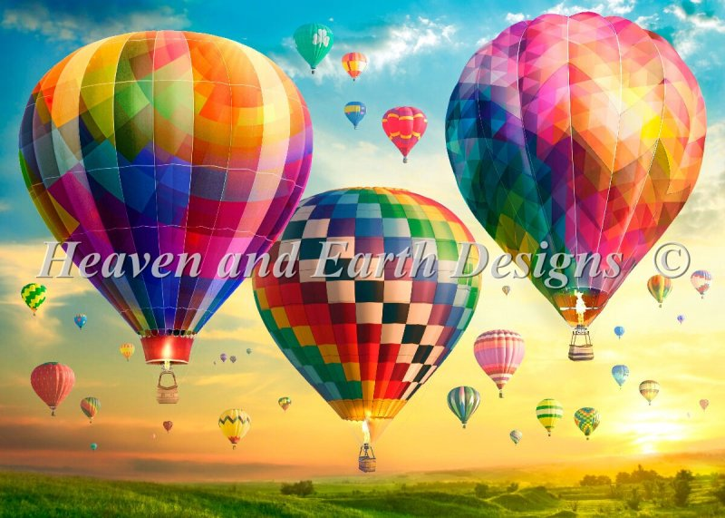 Hot Air Balloon Sunrise Max Color - Click Image to Close