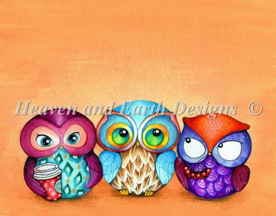 Mini Autumn Owl Trio NO Background