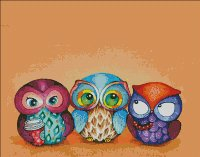 Mini Autumn Owl Trio