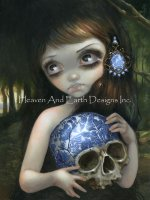 Mini Blue Willow Skull