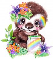 Mini Catching Rainbows Sloth