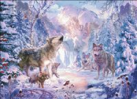 Mini Snow Landscape Wolves