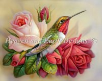 Hummingbirds In Roses