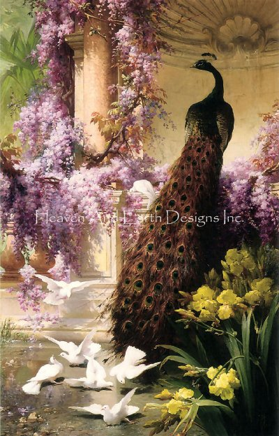 A Peacock And Doves In A Garden Max Colors