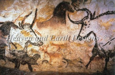 QS Bull Horse - Ancient Stone Wall Painting