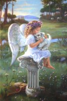 Angel and White Puppy