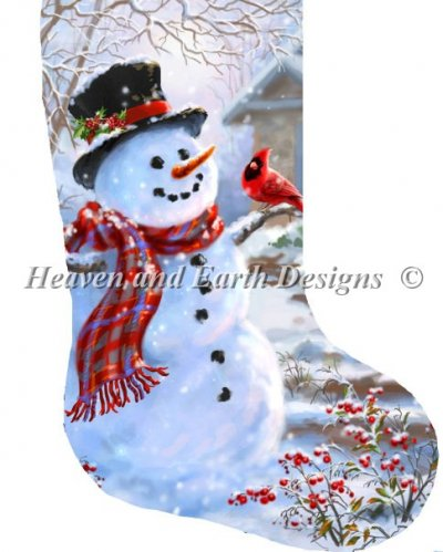 Stocking Snowman and Feathered Friend