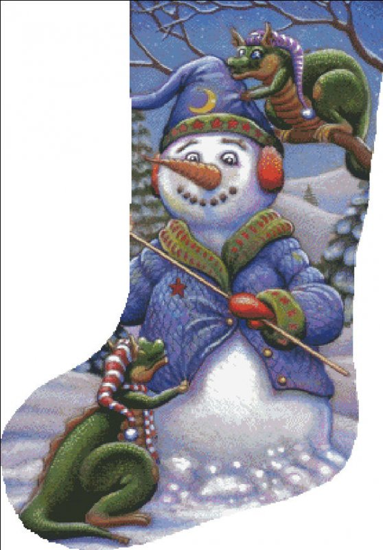 Stocking Snowman Magic - Click Image to Close