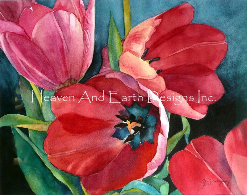 3 Red Tulips - Click Image to Close