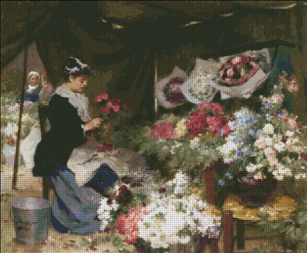 A Flower Seller Making Her Bouquets
