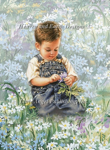 Boy With Daisies - Click Image to Close