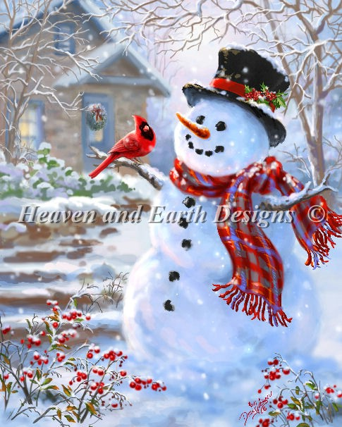 Snowman and Feathered Friend - Click Image to Close