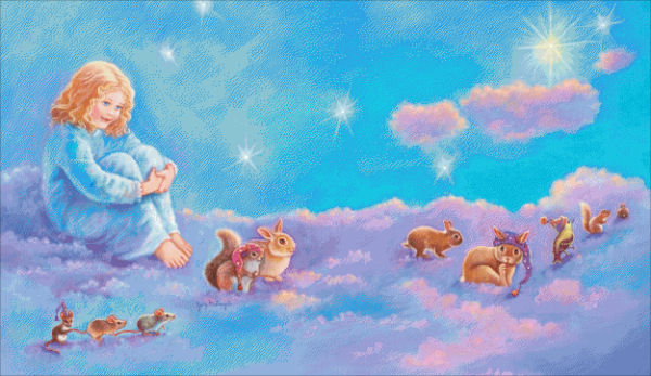 Girl And Animals In Clouds