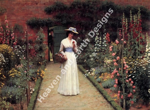 Lady in a Garden - Click Image to Close