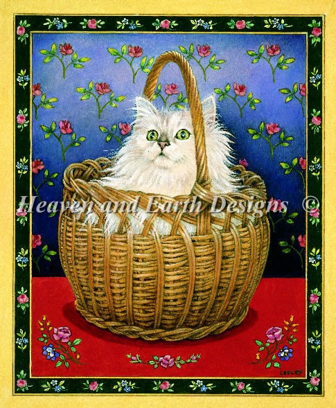 Roses Cat Bengy in Basket - Click Image to Close
