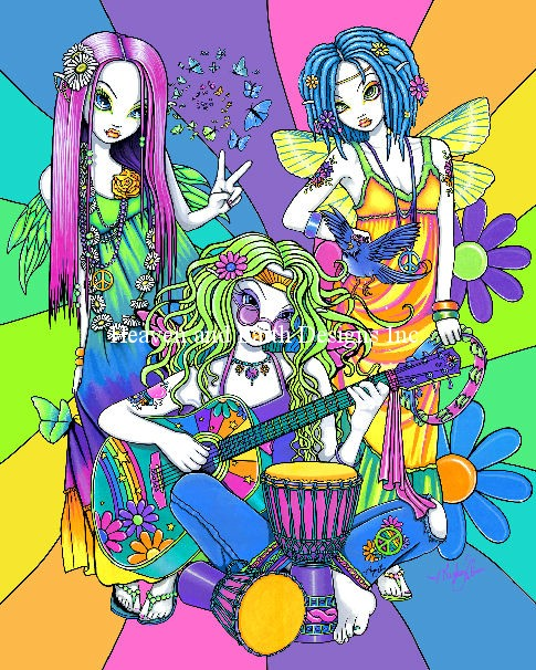 Rainbow Flower Child Band - Click Image to Close