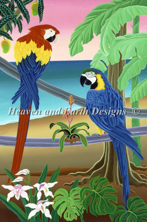 Red and Blue Macaws - Click Image to Close