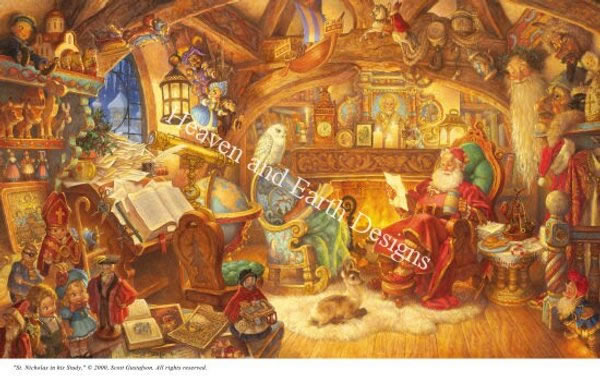 St. Nick in His Study - Click Image to Close