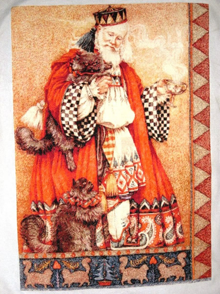 Father Christmas With Cats - Click Image to Close